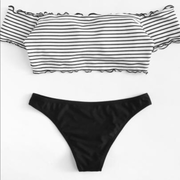 606656999d899 Two piece striped off the shoulder swimsuit